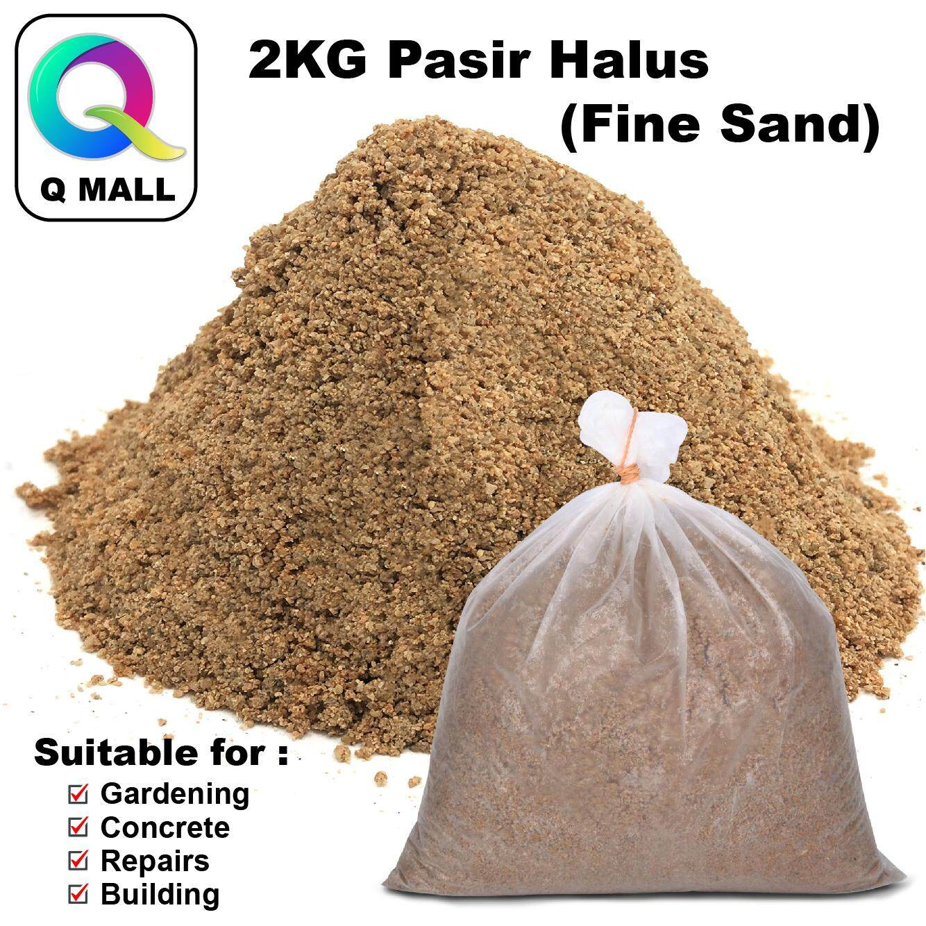 Q MALL 2KG Fine Sand / Pasir Halus / Pasir Simen /Cement Sand for Building Material, Touch Up DIY