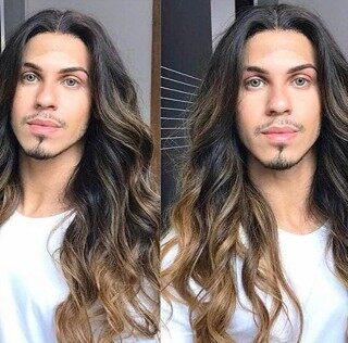 Tóc giả namEuropean and American Men s Wig Cross-Border European and American Men s Middle Length Long Curly Hairtóc giả thumbnail