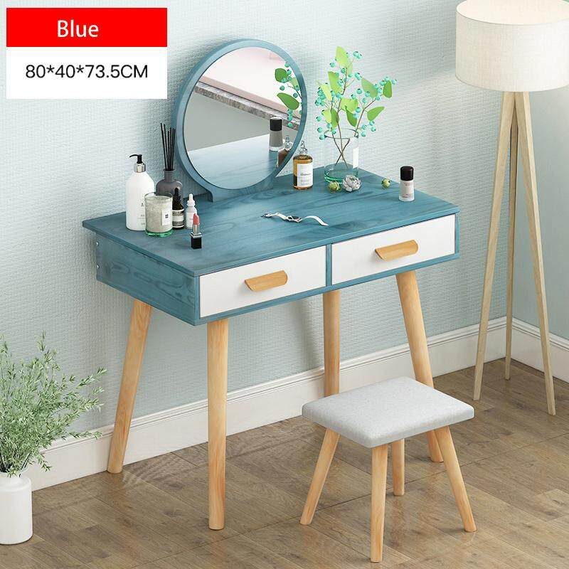 80x40x73.5cm, Dressing Table Solid Wood European Bedroom Dressing Table with Stool,HD mirror, 2 Drawers, Princess Makeup Cabinet Luxury Small Dressing Table