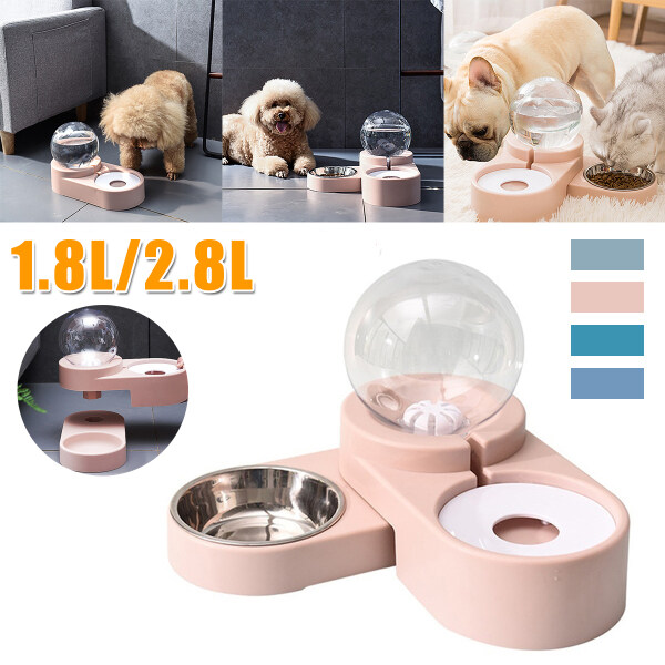 1.8L Bubble Dog Cat Pet Bowls Food Automatic Feeder Fountain Water Drinking