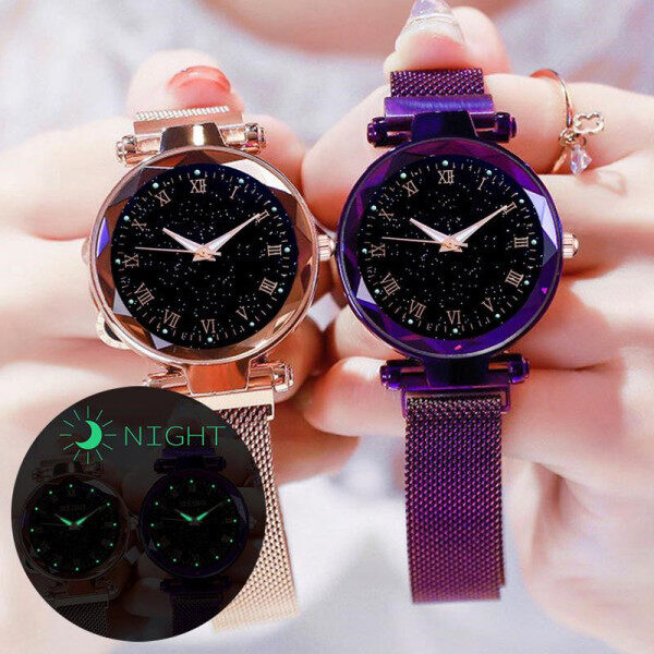 Fashion Luminous Starry Wristwatches Magnetic Buckle Strap Watches Women Clock Accessories Malaysia
