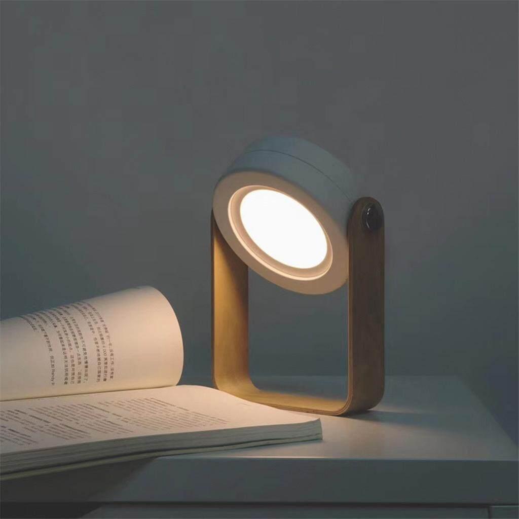 Perfk Wooden Handle Portable Lantern Lamp Foldable Charging Table Light White