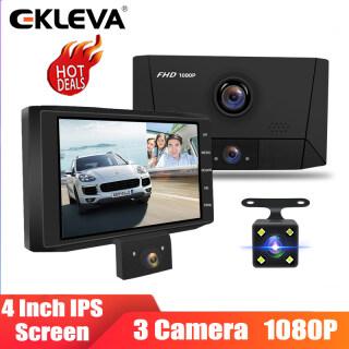 EKLEVA Camera Hành Trình Dvr 4.0 Inch Cho Xe Hơi Máy Ghi Hình Ống Kính 3 Camera FHD 1080P Với Camera Quan Sát Phía Sau DVR Dash Máy Ảnh thumbnail