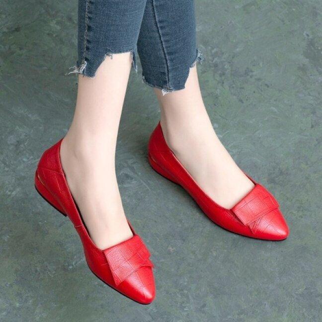 Duy Nhất Giày Giày Nữ Giày Beanie Phiên Bản Hàn Quốc Cho Học Sinh Nữ Nữ Giày Da Phẳng Giản Dị Giày Đơn Giản Phiên Bản Hàn Quốc Cho Nữ giá rẻ