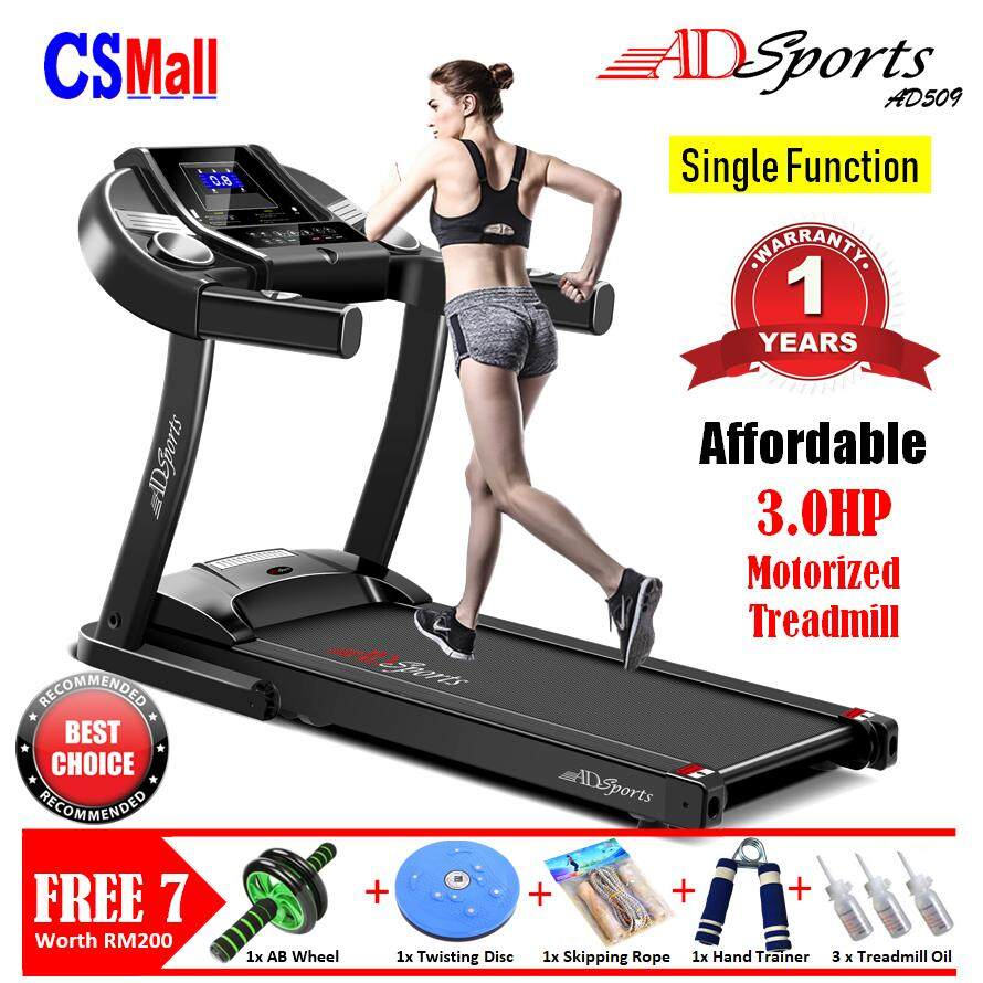 Csmall: 1 Year Warranty - Free 7gifts - 3.0hp Adsports Ad509 Home Exercise Gym Fitness Electric Motorized Treadmill Running Machine By Cs Mall.