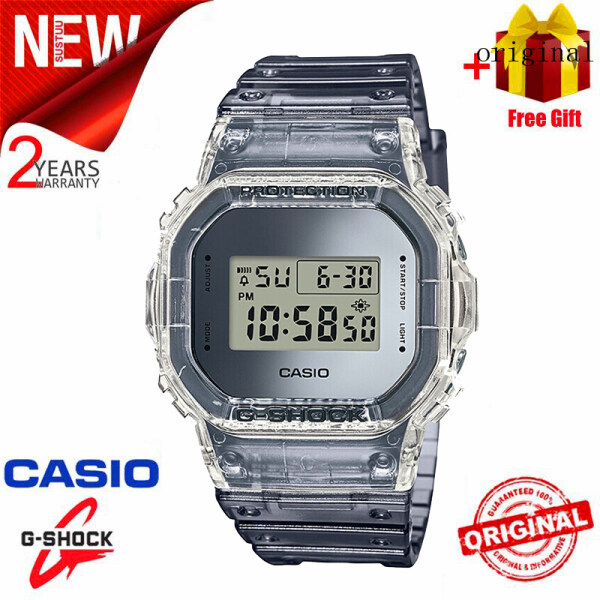2021 Original Casio G Shock DW5600 Men Sport Watch LED Display 200M Water Resistant Shockproof and Waterproof World Time LED Auto Light Sports Square Wrist Watches with 2 Year Warranty Clear Gray (Free Shipping) Malaysia