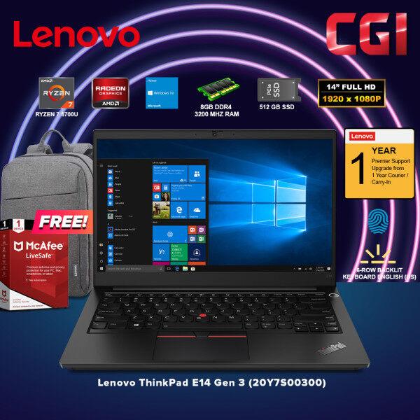 Lenovo 14 Laptop ThinkPad E14 Gen 3 AMD Ryzen 7 5700U Processor AMD Radeon Graphics Win10Home 8GB RAM 512GB SSD (20Y7S00300) Malaysia