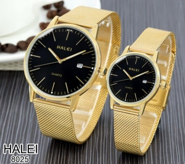 ❤Halei Fashion Quartz Analog Man Lady Gold Watch Model 8025❤   Halei哈雷8025男女情侣金手表 Malaysia