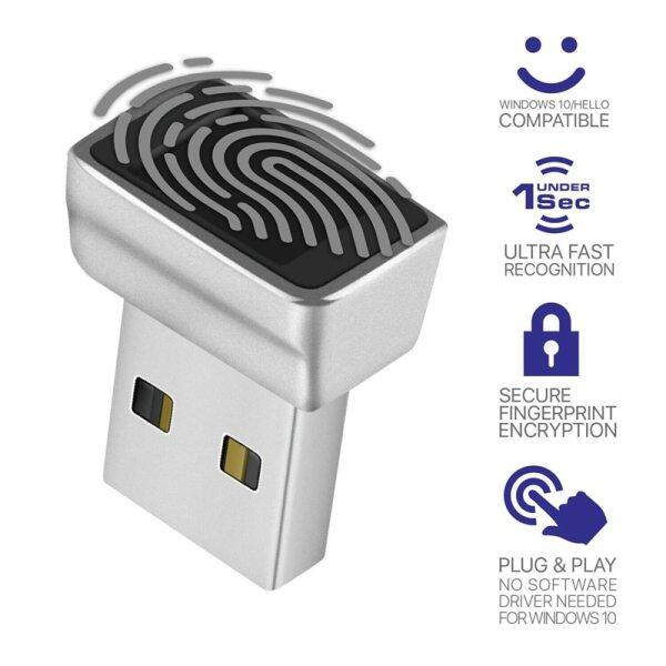 USB Fingerprint Reader Module for Windows 10 Hello, Biometric Scanner padlock for Laptops & PC