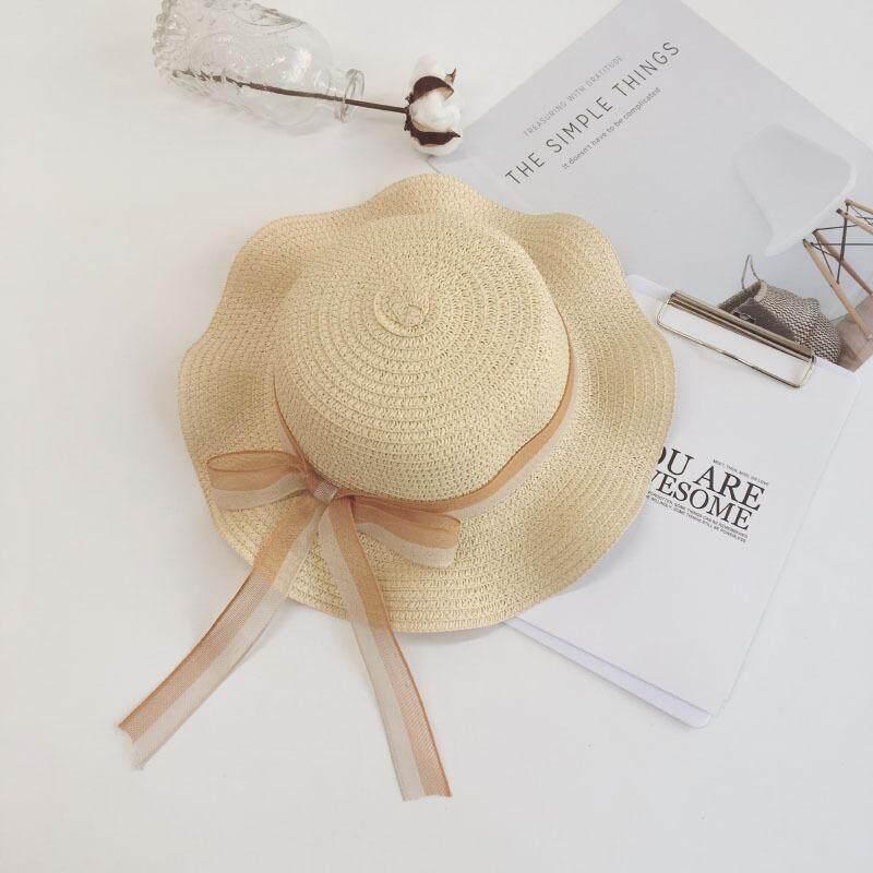 5d908573 Summer New Lace Bows Girls Straw Hat Kids Beach Sun Hat Cute Big Bowknot  Baby Girl