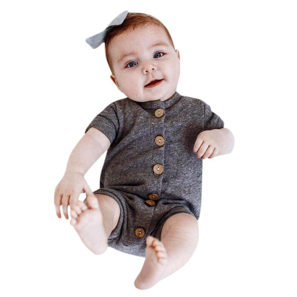 Newborn Infant Baby Girl Short Sleeve Striped Romper Jumpsuit Outfits Clothes