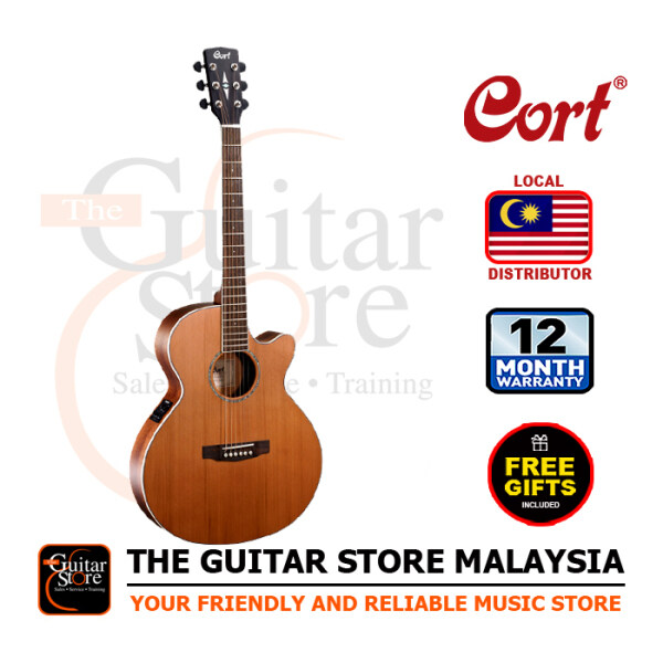 Cort SFX-CED Solid Cedar Top Slim Acoustic Guitar Natural Satin Fishman Isys Plus Preamp Pickup With Gigbag Malaysia