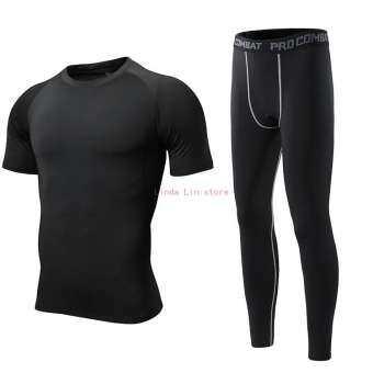 LLS ชุดออกกำลังกายชุดผู้ชายสั้นแขนสั้นแห้งเสื้อผ้าถุงน่องยืดได้การฝึกอบรมโยคะเสื้อยืดชุดกีฬาสำหรับวิ่ง 2 ชิ้น-