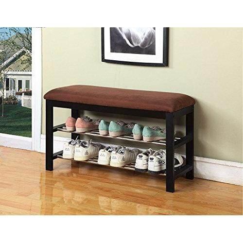 eHomeProducts Black / Chocolate Micro Fabric Shoe Rack Storage Organizer & Hallway Bench