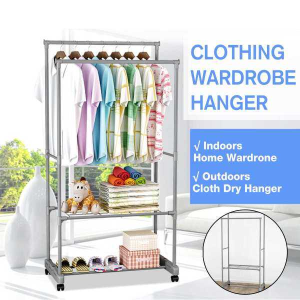 Rack Drying Laundry Hanger Dryer Steel Stainless Foldable Coat Rack Floor Standing Clothes Hanging