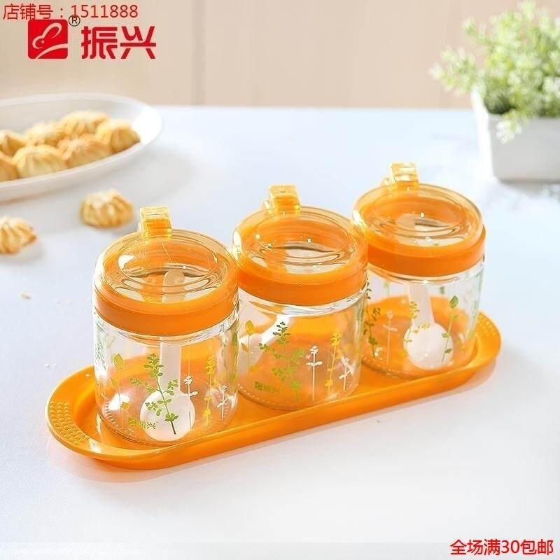 Zenxin dan ya shi Spice Jar Printed Glass Seasoning Can Sealed Jar 3 a A-350 ML Random Color Hair