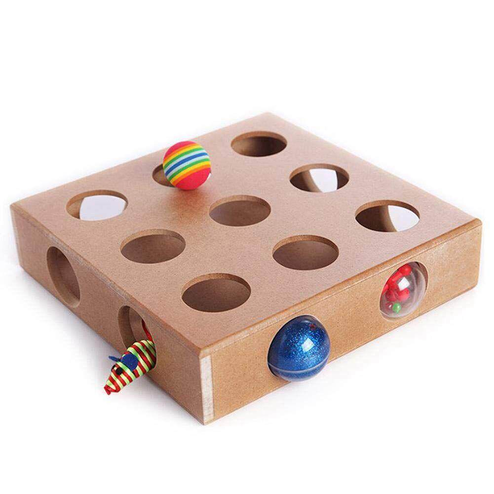 Interactive Cat Toy Puzzle Box, Wooden Peek Play Toy Box, Hide & Seek Cat Mice Toy & Puzzle Feeder Adorable Cat Toys By Lovefreebuy.