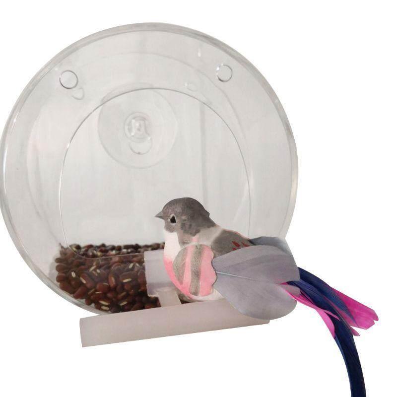 Trong Suốt Acrylic Di Động Vòng Chim Trung Chuyển Treo Hấp Phụ Pet Vẹt Ăn
