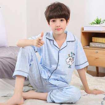 แขนสั้นเต็มความยาวกางเกงการ์ตูนน่ารักชุดนอนเด็กคาร์ดิแกนปกสบายสบายชุดนอนผ้าฝ้ายชุด