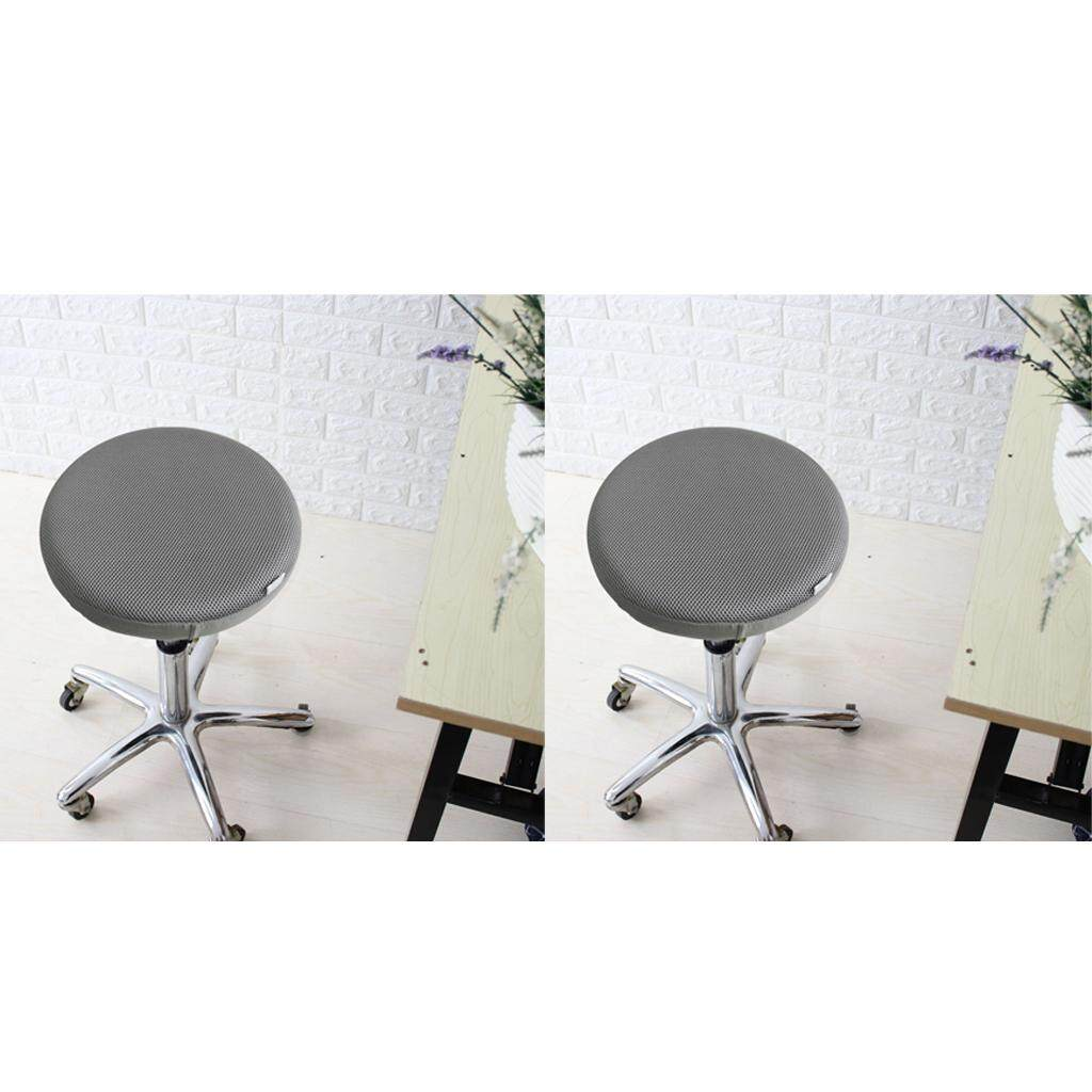 Perfk 2 Size Elastic Swivel Bar Stool Chair Cover Office Seat Protector Gray