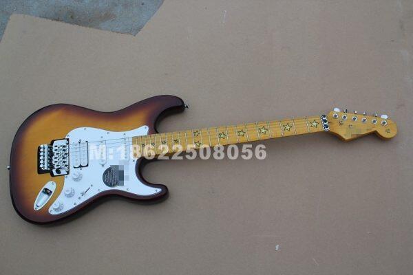ri chie Sam bora sunburst ST Electric Guitar with star inlay , Floyd Rose Double Locks Bridge Malaysia