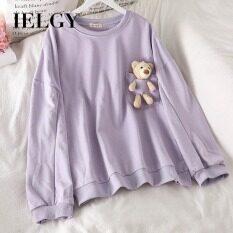Áo thun nữ tay dày có gấu bông form áo dáng rộng thoải mái chất liệu cotton mềm mại IELGY