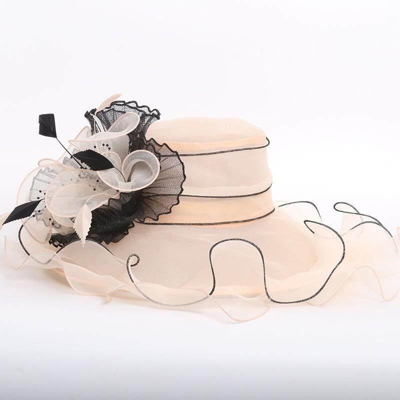 96d574808 2019 Ladies Elegant Organza Wedding Hat Beach Travel Big Hats for Women  Casual Summer Sun Hat Hair Accessories chapeu feminino