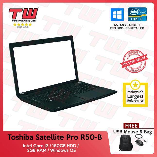 Toshiba Satellite Pro R50-B Core i3 / 2GB RAM / 160GB HDD / Windows OS Laptop / 3 Months Warranty (Factory Refurbished) Malaysia