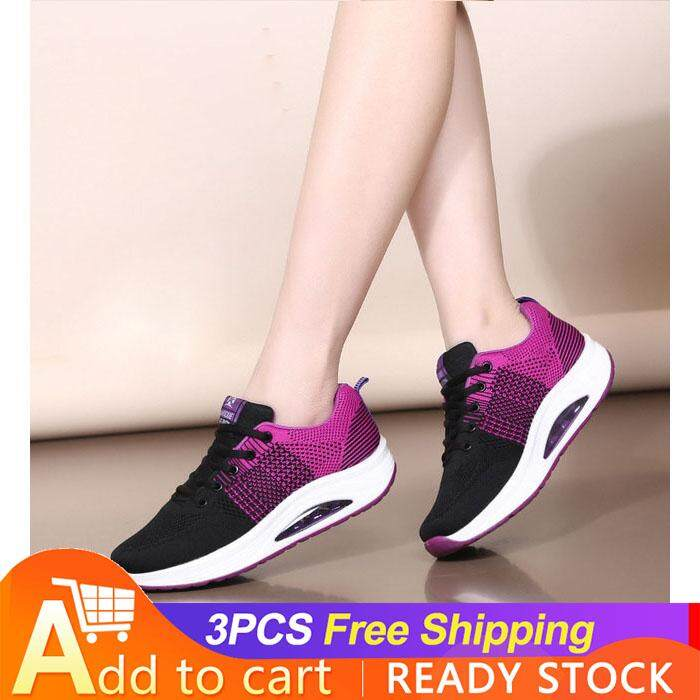 the latest ae0f6 0fbd7 JE fE fashion new ladies breathable flying woven fabric low to help airbag  bottom square ghost step