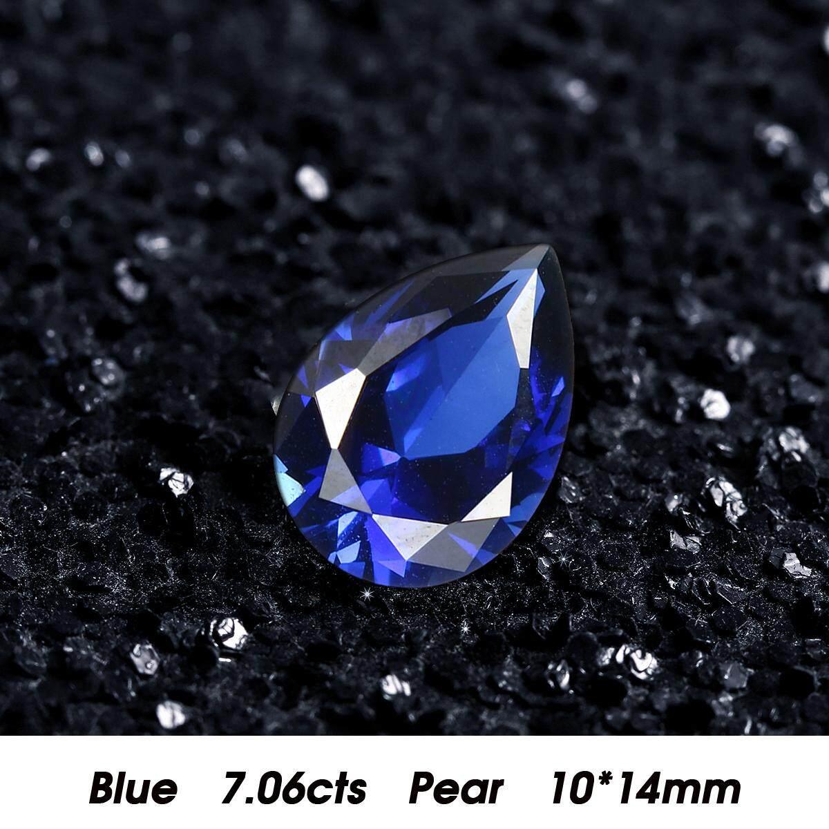 14mm x 10mm Tự Nhiên Xanh Dương Corundum 7.06ct Hình Trái Lê Màu Xanh Sapphire Kim Cương
