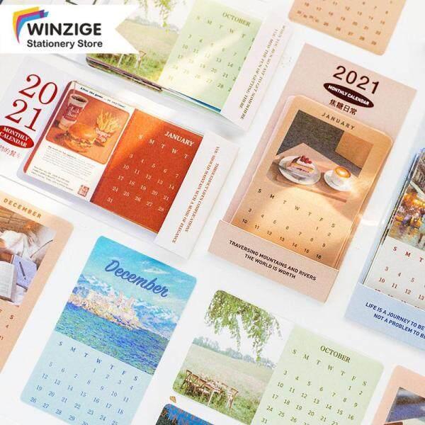 Nhãn Dán Lịch Winzige 2021 Hàng Tháng Dán Tạp Chí Trang Trí Nội Thất Album Tài Liệu Nghệ Thuật Hoài Cổ