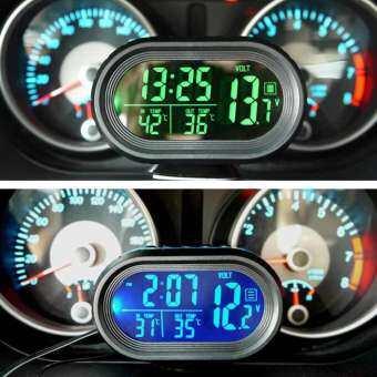Yupt นาฬิการถยนต์เครื่องวัดอุณหภูมิแบบดิจิตอลรถควบคุมแรงดันไฟฟ้า Snooze โหมดสั่นปลุกอัตโนมัติ ALARM Security 12 โวลต์ 3 ใน 1 นาฬิกา LCD ดิจิตอลเทอร์โมมิเตอร์สำหรับรถ Monitor เครื่องวัดอุณหภูมิอัตโนมัติเครื่องวัดอุณหภูมิโวลท์มิเตอร์ Gaugge-