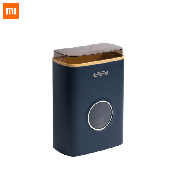 Xiaomi Mijia JJ Large Capacity Disposable Cup Holder Double Barrel Design Cup Stand Automatic Falling Paper Cup Holder Wall Mounted Dustproof With lid Household Water Dispenser Cup Storage Rack