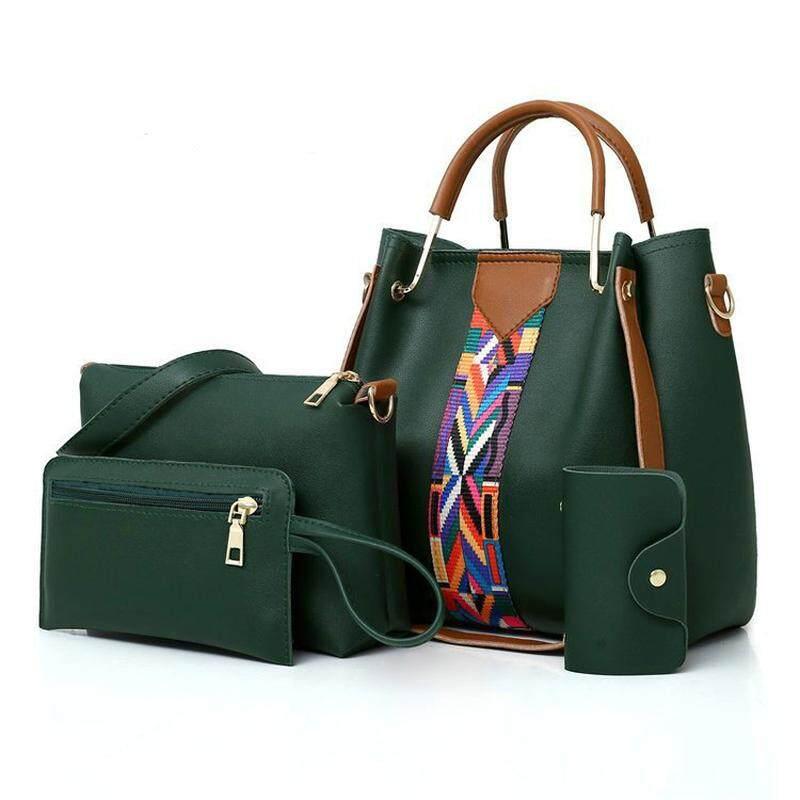Set of 4 Pieces Ladies Premium Handbag 2019 New Arrival Korean Fashion Multi-piece Set Handbags Large Capacity Shoulder Diagonal Cross Bag Female 4 In 1
