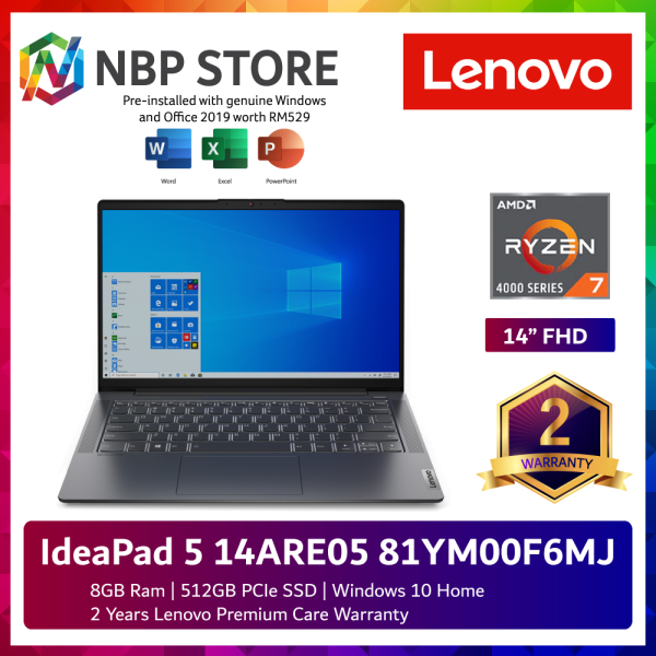 Lenovo IdeaPad 5 14ARE05 81YM00F6MJ 14 FHD Laptop Graphite Grey ( Ryzen 7 4800U, 8GB, 512GB SSD, ATI, W10, HS ) Malaysia