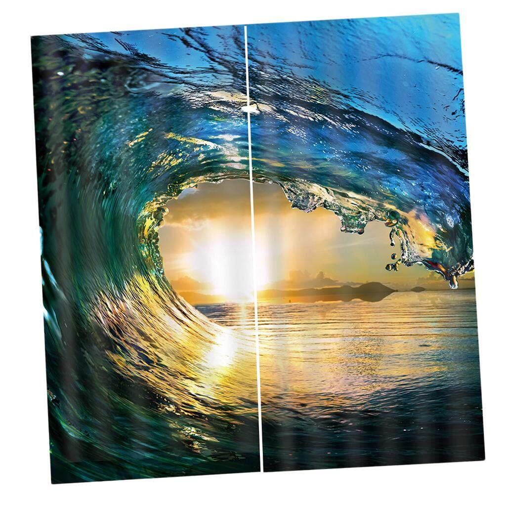 Dolity 2 Pcs/Panels Sunset Sea Wave Window Curtains Drapes for Bedroom Balcony etc