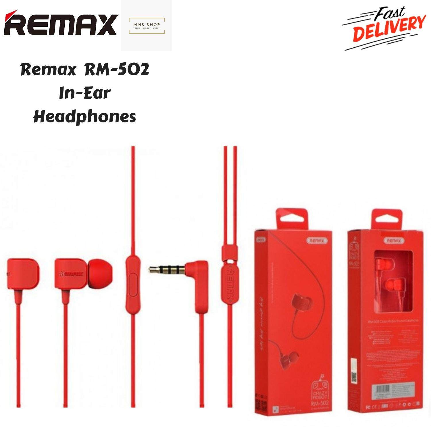Original Remax RM-502 Stereo Music Earbuds 3 5mm Heavy Bass Wired Crazy  Robot Earphone Noise Reduce Headset with HD Mic