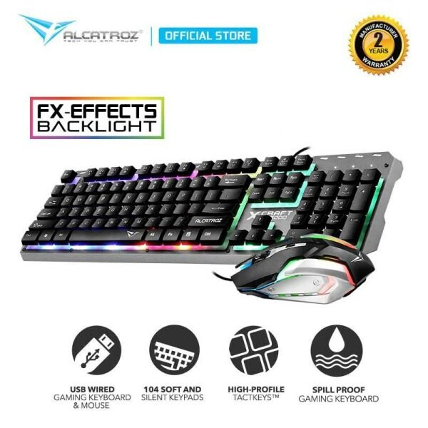 Alcatroz X-Craft XC3000 Spill Proof Gaming Keyboard Mouse Combo Set with 7 Colour FX Light Effect Malaysia