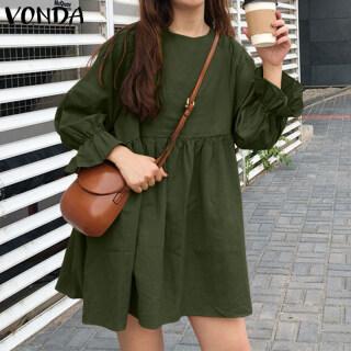 (Phong cách Hàn Quốc) vonda phụ nữ Hàn Quốc Cotton Linen Dài tay áo đồng bằng kỳ nghỉ Mini Dress DRESS Size S-5XL thumbnail
