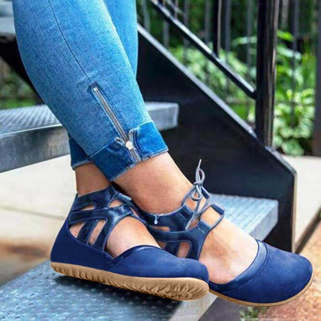 a7e02e9139f Rowellshop Female Ladies British Style Boots Free Shipping Women's Round  Toe Ankle Short Boots Shoes Fashion Lace-Up Large Size Flat Sandal