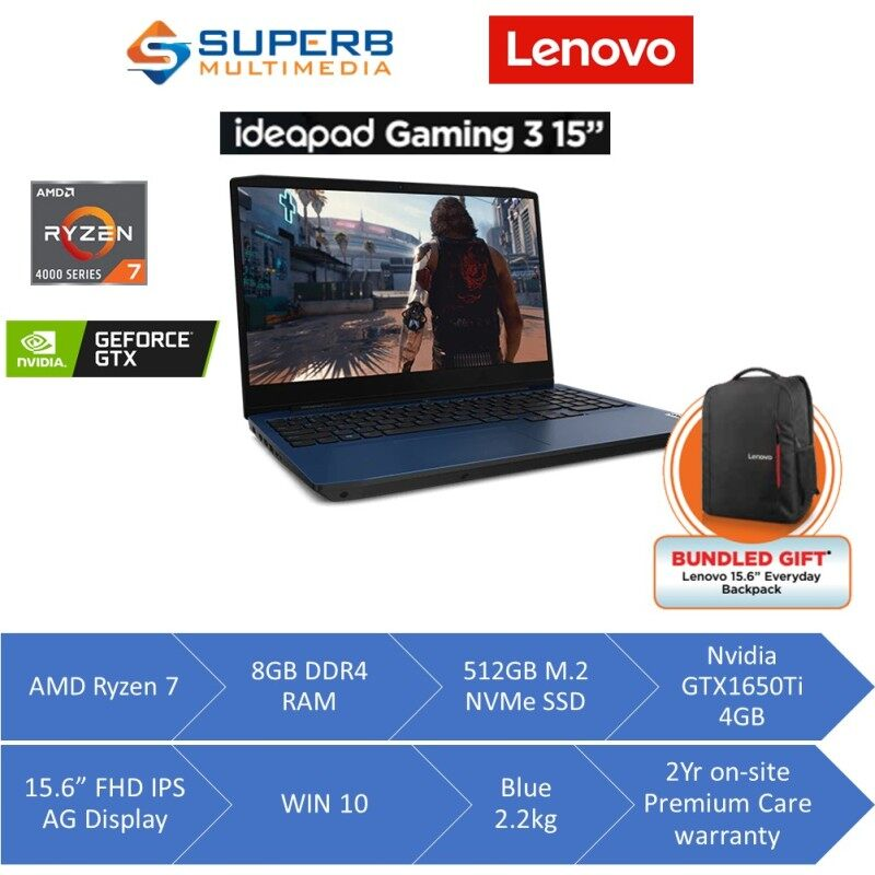 Lenovo Ideapad Gaming 82EY00BPMJ Laptop (AMD Ryzen 7 4800H, 8GB DDR4 3200 RAM, 512GB NVMe SSD, Nvidia GTX1650Ti 4GB DDR6, 15.6 Inch FHD IPS AG 120Hz, Win10, Blue) Malaysia