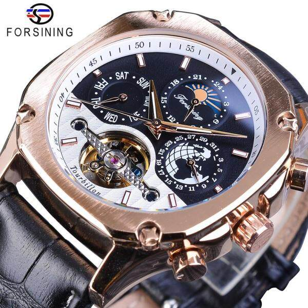 Forsining Golden Mechanical Mens Watches Square Automatic Moonphase Tourbillon Date Genuine Leather Band Watch Clock Malaysia