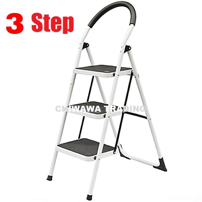 3 Steps Household Commercial Foldable Steel Ladder / Tangga