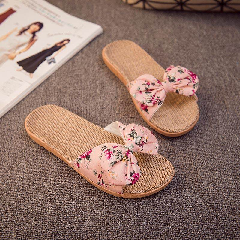 40d78a7a2 Women Home Summer Sandals And Slippers Linen Slippers With Bow Tie