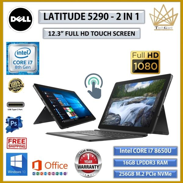 DELL LATITUDE 5290 ( 2 in 1 TABLET ) CORE i7 8TH GEN / 12.3 FHD TOUCH SCREEN / 16GB RAM / 256GB M.2 SSD / 12.3 FULL HD TOUCH SCREEN / REFURBISHED Malaysia