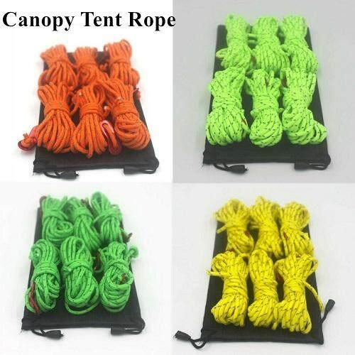6x Heavy Duty Reflective Guyline Tent Ropes Glow Camping Tarp Hammock 4m//13ft