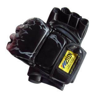 Tự Do MMA Muay Thai Tập Gym Đấm Túi Nửa Mitt Tàu Sparring Đá Đấm Bốc (Đen)-M thumbnail