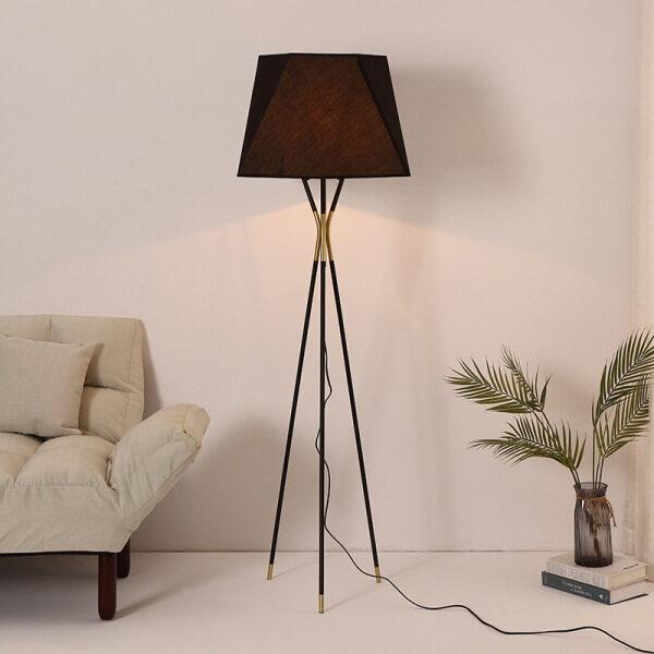 LOCO LIGHT Standard Lamp Postmodern Floor Lamp European Metal Triangle Support Floor Lights Fabric Lampshade Bedroom Living Room Lighting Fixtures  H163CM