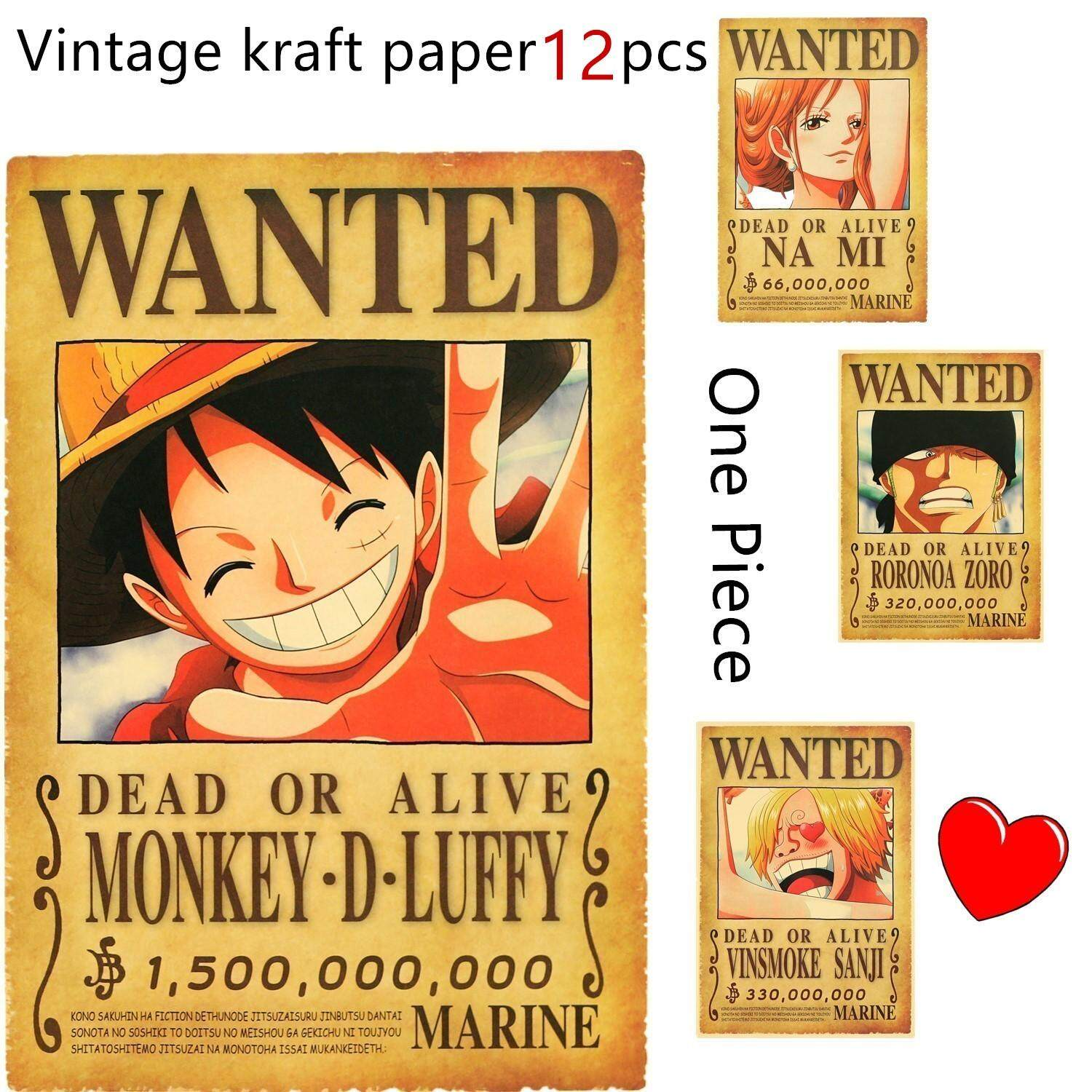 12pcs One Piece Newest Poster Wanted Poster Anime Characters Picture Luffy Law Zero Sanji Ace Lazada Ph