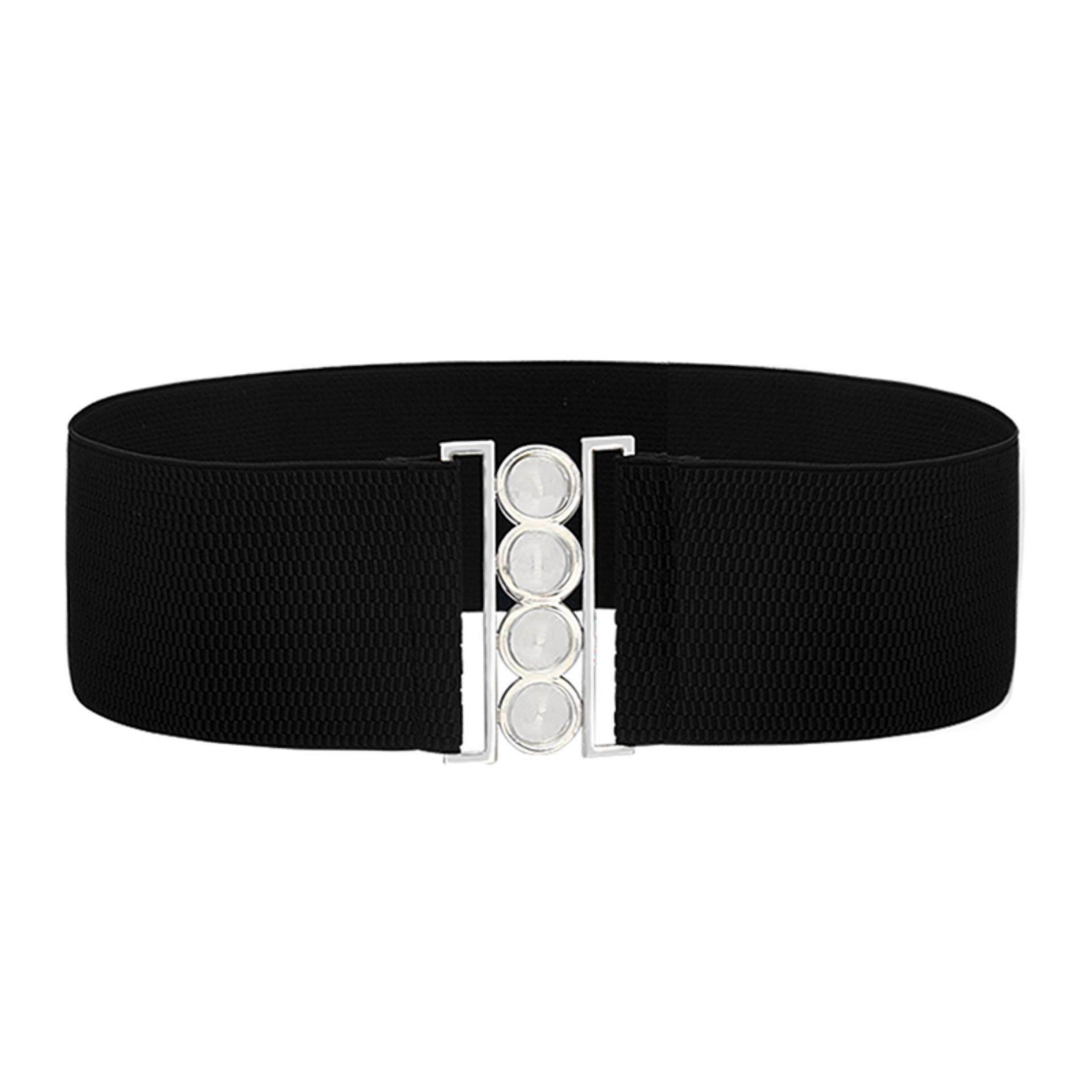 77f840797 2019 Women Wide Waist Elasticated Lady Girl Buckle Belt Belts Elastic White